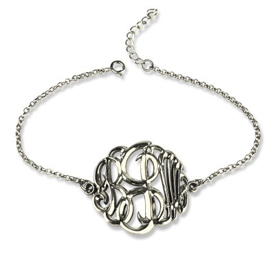 Sterling Silver Monogram Bracelet Hand-painted - Name My Jewelry ™