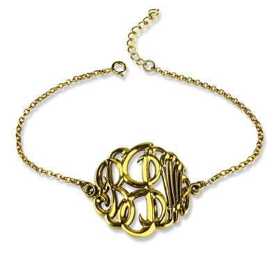 personalized Monogrammed Bracelet Hand-painted 18ct Gold Plated - Name My Jewelry ™