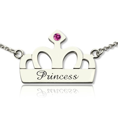 Crown Charm Neckalce with Birthstone  Name Sterling Silver  - Name My Jewelry ™