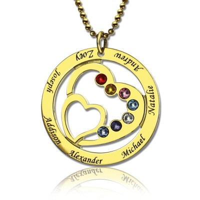 Heart in Heart Birthstone Name Necklace 18ct Gold Plated  - Name My Jewelry ™