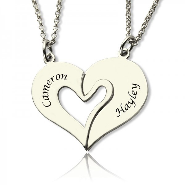 personalized Breakable Heart Name Necklace for Couples Silver - Name My Jewelry ™