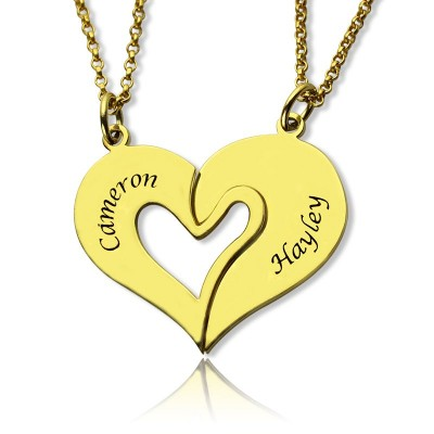 Double Name Heart Friend Necklace Couple Necklace Set 18ct Gold Plated - Name My Jewelry ™