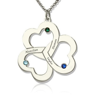 personalized Three Triple Heart Shamrocks Necklace with Name - Name My Jewelry ™