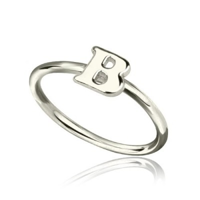 personalized Women's Midi Initial Ring Sterling Silver - Name My Jewelry ™