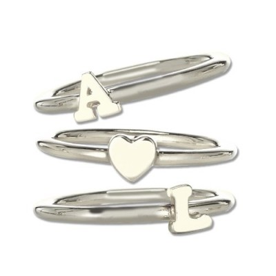 Stackable Midi Initial Ring Sterling Silver - Name My Jewelry ™