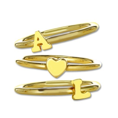 Stackable Initial Ring 18ct Gold Plated - Name My Jewelry ™
