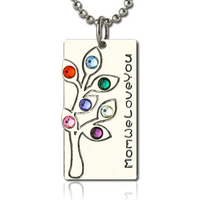 Birthstone Mother Family Tree Necklace Gifts Sterling Silver  - Name My Jewelry ™