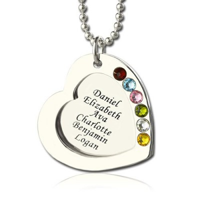 Heart Family Necklace With Birthstone Sterling Silver  - Name My Jewelry ™