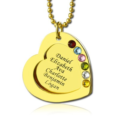 Heart Birthstones Necklace For Mother In Gold  - Name My Jewelry ™