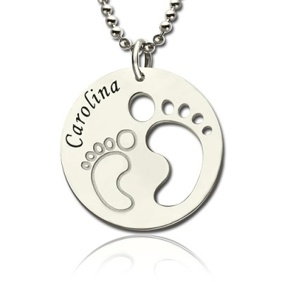 Baby Footprint Name Pendant Sterling Silver - Name My Jewelry ™