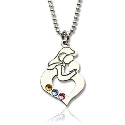 personalized Mother Child Necklace with Birthstone Silver  - Name My Jewelry ™