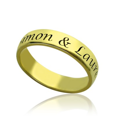 Engraved Promise Name Ring 18ct Gold Plated - Name My Jewelry ™