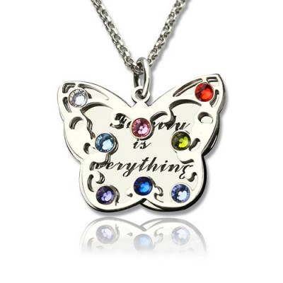 personalized Birthstone Butterfly Necklace Sterling Silver  - Name My Jewelry ™