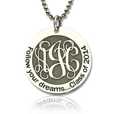 personalized Class Graduation Monogram Necklace Sterling Silver - Name My Jewelry ™
