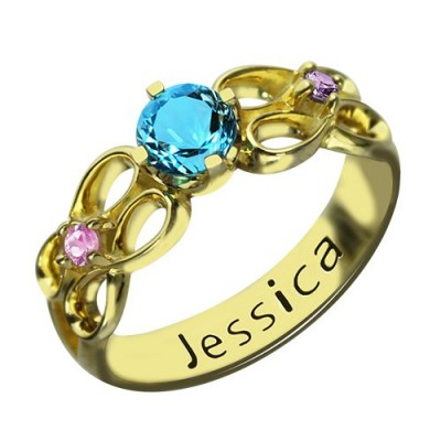 Birthstone Infinity Promise Ring With Name 18ct Gold Plated  - Name My Jewelry ™