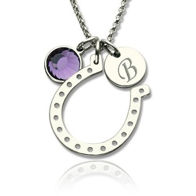 Horseshoe Good Luck Necklace with Initial  Birthstone Charm  - Name My Jewelry ™