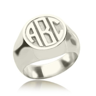 personalized Signet Ring with Block Monogram Sterling Silver - Name My Jewelry ™