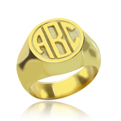 Customised Signet Ring with Block Monogram 18ct Gold Plated - Name My Jewelry ™