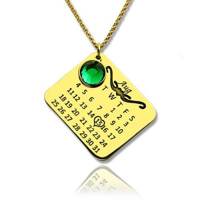 Birth Day Gifts - Birthday Calendar Necklace 18ct Gold Plated - Name My Jewelry ™