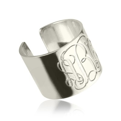 personalized Monogram Cuff Ring Sterling Silver - Name My Jewelry ™