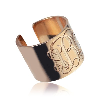 Engraved Monogram Cuff Ring Rose Gold - Name My Jewelry ™