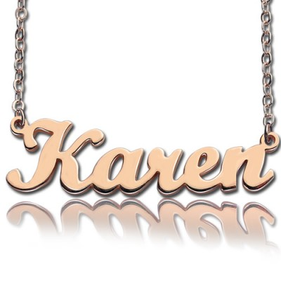 18ct Rose Gold Plated Karen Style Name Necklace - Name My Jewelry ™
