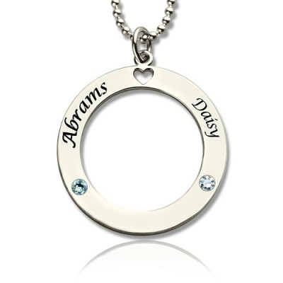Engraved Circle of Love Name Necklace with Birthstone Silver  - Name My Jewelry ™