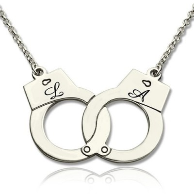 Handcuff Necklace For Couple Sterling Silver - Name My Jewelry ™