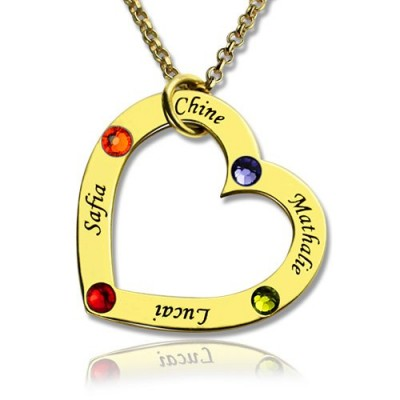 Gold Plated Birthstone Heart Necklace For Mother  - Name My Jewelry ™