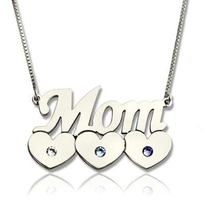 Mother Necklace With Children Birthstone Silver  - Name My Jewelry ™