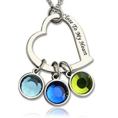Open Heart Promise Phrase Necklace with Birthstone  - Name My Jewelry ™