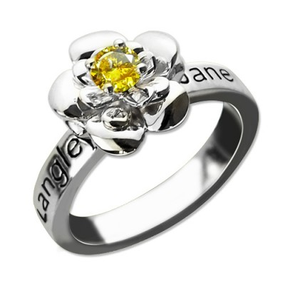 Promise Rose Ring Engraved Name  Birthstone Sterling Silver  - Name My Jewelry ™
