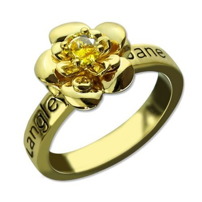 Promise Rose Ring for Her with Birthstone 18ct Gold Plated  - Name My Jewelry ™