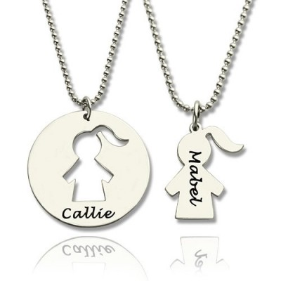 Mother Daughter Necklace Set Engraved Name Sterling Silver - Name My Jewelry ™