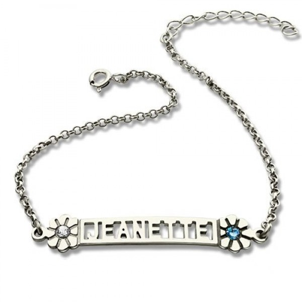 personalized ID Birthstone Name Bracelet For Teens  - Name My Jewelry ™