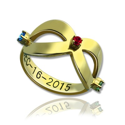18ct Gold Plated Engraved Infinity Birthstone Ring  - Name My Jewelry ™