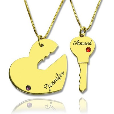 Key to My Heart Couple Name Pendant Necklaces Gold - Name My Jewelry ™