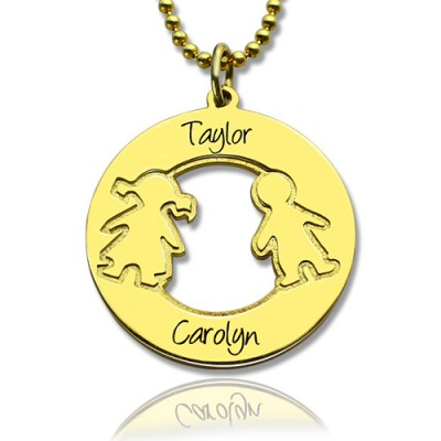 Circle Necklace Engraved Children Name Charms 18ct Gold Plated Silver925 - Name My Jewelry ™
