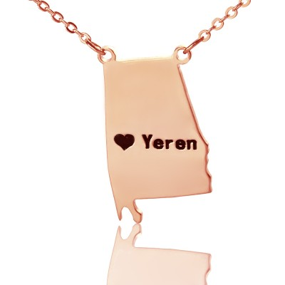 Custom Alabama State USA Map Necklace With Heart  Name Rose Gold - Name My Jewelry ™