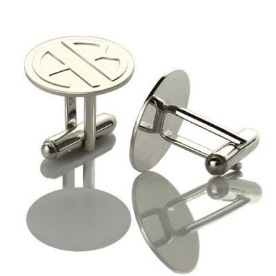 Cufflinks for Men Block Monogrammed Sterling Silver - Name My Jewelry ™