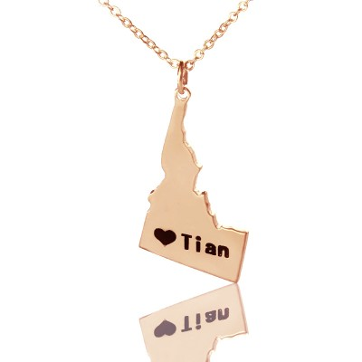Idaho State USA Map Necklace With Heart  Name Rose Gold - Name My Jewelry ™