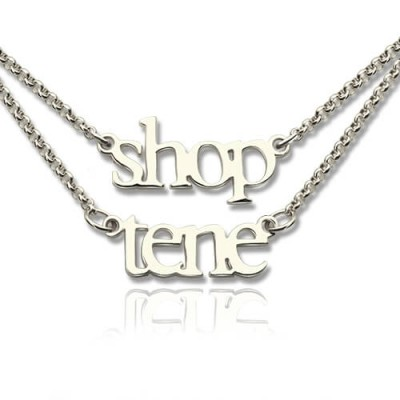 Sterling Silver Double Layer Mini Name Necklace - Name My Jewelry ™