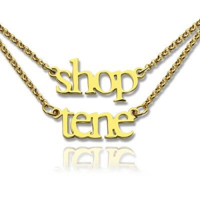 Double Layer Mini Name Necklace 18ct Gold Plated - Name My Jewelry ™