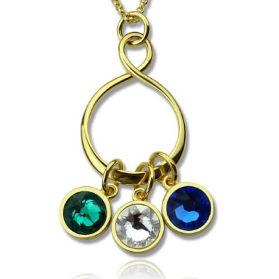 personalized Family Infinity Necklace with Birthstones 18ct Gold Plate  - Name My Jewelry ™