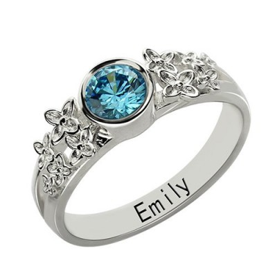 personalized Flower Engagement Birthstone Name Ring Sterling Silver  - Name My Jewelry ™