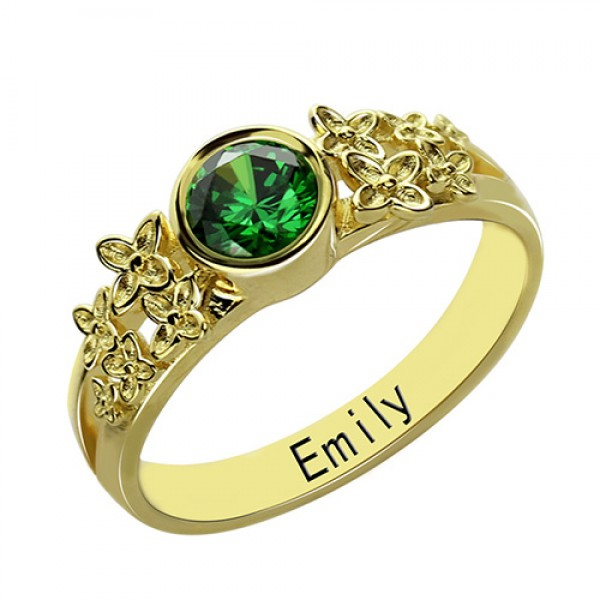 personalized Flower Engagement Birthstone Name Ring Gold Plated Silver  - Name My Jewelry ™