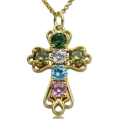 personalized Cross necklace with Birthstones Gold Plated Silver  - Name My Jewelry ™