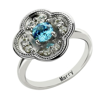 Birthstone Blossoming Love Engagement Ring Sterling Silver  - Name My Jewelry ™