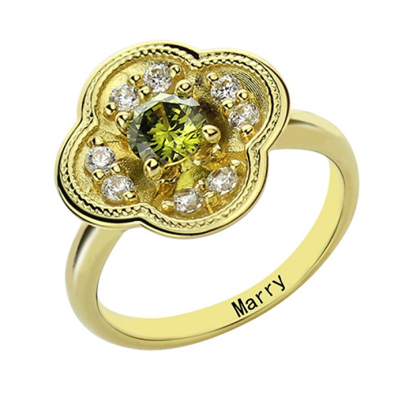 Blossoming Engagement Ring Engraved Birthstone 18ct Gold ...