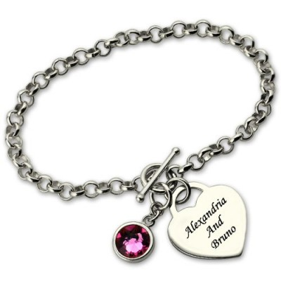personalized Charm Bracelet with Birthstone  Name Sterling Silver  - Name My Jewelry ™